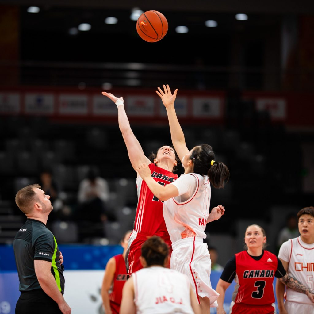 Canadian Armed Forces members are proud to compete amongst the world's best military athletes at the 7th CISM Military World Games in Wuhan, China on 19 October, 2019.  A hundred and seventy-two athletes, coaches and support staff are competing in nine sports.  Canadian Armed Forces Women's Basketball team play against China during the 7th CISM Military World Games.  The score was 111 - 29 in favor of China.  Photo: Corporal Thomas Lee, OPTIC  CI01-2019-0004